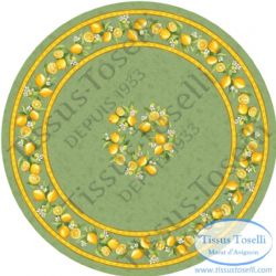 Lemons Tablecloth Round Green 180cms Coated